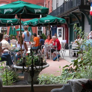 Outdoor cafés abound in the village