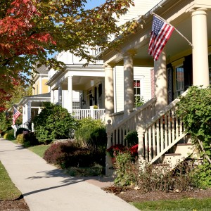 Wide sidewalks and front porches encourage friendly chats