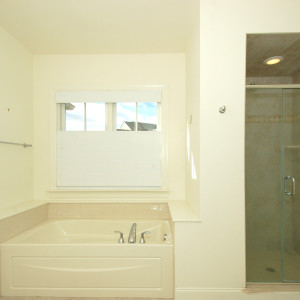 Master Bath with Separate Soaking Tub and Tiled Shower